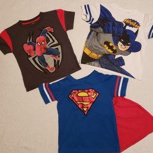 Marvel & DC Batman Spiderman & Superman TShirts 4T